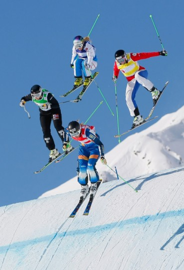 Anna Holmlund of Sweden takes 2nd place, Sofia Smirnova of Russia takes 3rd place, Marte Hoeie Gjefsen of Norway takes 6th, Andrea Limbacher of Austria takes 8th place during the FIS Freestyle Skiing World Cup Ski Cross in Arosa, Switzerland. (Laurent Salino/Agence Zoom/Getty Images)