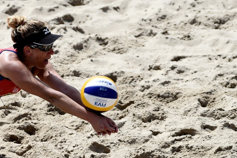 April Ross of the United States in action during her match against Agatha Rippel and Barbara Seixas of Brazil for third place of the Brazil versus USA Beach Volleyball International Challenge at Copacabana beach in Rio de Janeiro, Brazil. (Buda Mendes/Getty Images)