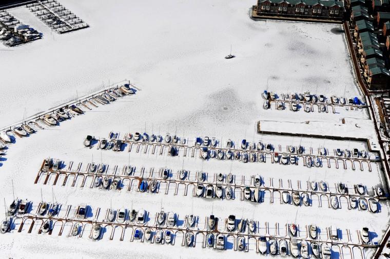 A frozen marina east of the Inner Harbor. (Lloyd Fox/Baltimore Sun)