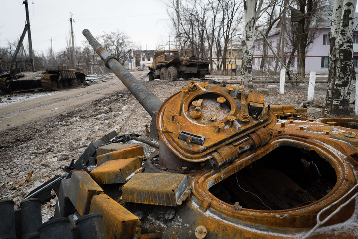 A destroyed tank sits in the eastern Ukrainian town of Vuglegirsk in the Donetsk region. Kiev accused pro-Russian Ukrainian separatists of massing forces for fresh offensives, with seven civilians and five soldiers killed in the latest fighting in the east. (Andrey Borodulin/AFP-Getty Images)