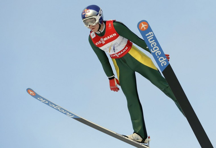 United States' Sarah Hendrickson soars through the air during the Women's Ski Jumping competition at the Nordic Skiing World Championships in Falun, Sweden, Friday, Feb. 20, 2015. (AP Photo/Matthias Schrader)