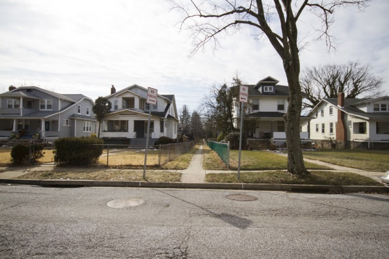 Small named pathways unique to Howard Park provide quick throughways amid long street blocks. (Kalani Gordon, Baltimore Sun, Feb. 2015)