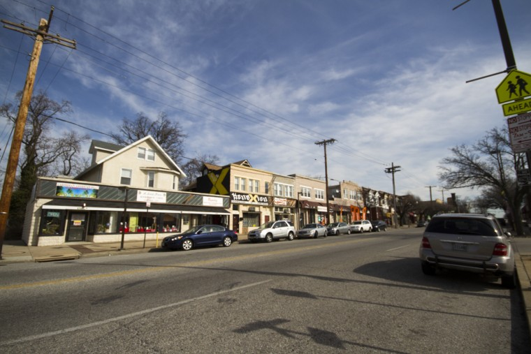 Shops, many shuttered, along Liberty Heights Road. (Kalani Gordon, Baltimore Sun, Feb. 2015)