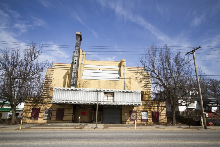 The vacant Ambassador Theater along Liberty Heights Ave. A fire broke out in 2012 and mostly destroyed the complex. (Kalani Gordon, Baltimore Sun, Feb. 2015)