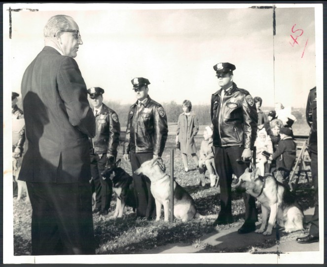 The city police commissioner reviews new K-9 corps members. (William H. Mortimer/Baltimore Sun, 1968)