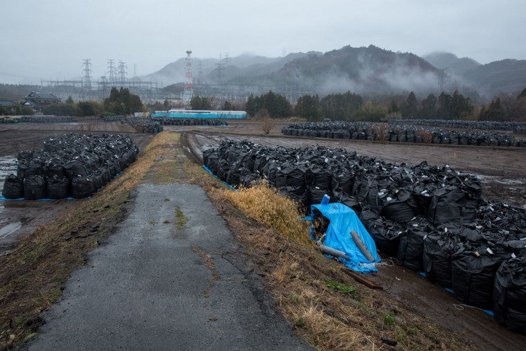 Bags of soil contaminated with radiation are stacked on March 9, 2015 in Tomioka town, Fukushima prefecture, Japan. On March 11 Japan commemorates the fourth anniversary of the magnitude 9.0 earthquake and tsunami that claimed more than 18,000 lives, and subsequent nuclear disaster at the Fukushima Daiichi Nuclear Power Plant. (Photo by Ken Ishii/Getty Images)