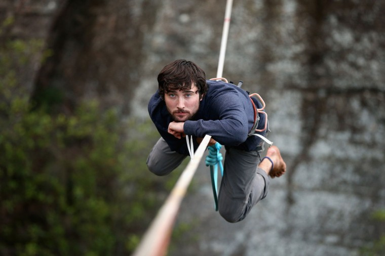 Kyle Beall of the United States focuses on a highline rigged between cliffs at Corroboree Walls in Mount Victoria on March 7, 2015 in the Blue Mountains, Australia. (Photo by Cameron Spencer/Getty Images)