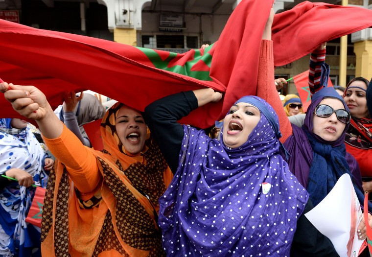 Moroccan women shout slogans during a protest calling for gender equality as they mark International women's day in Rabat on March 8, 2015. (Fadel Senna/AFP/Getty Images)