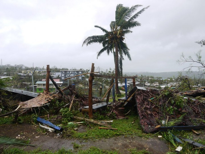 This handout photo taken on March 14, 2015 and released to AFP on March 15 by World Vision shows flattened structures and debris, caused by Cyclone Pam, in the Vanuatu capital of Port Vila. Vanuatu's president made an emotional appeal for international assistance after his island nation was hit by a calamity of a cyclone, wreaking devastation in what is feared to be one of the region's worst weather disasters. Vanuatu declared a state of emergency on March 15, saying six people were confirmed dead as a result of the monster storm with the toll expected to rise. (World Vision/AFP/Getty Images)