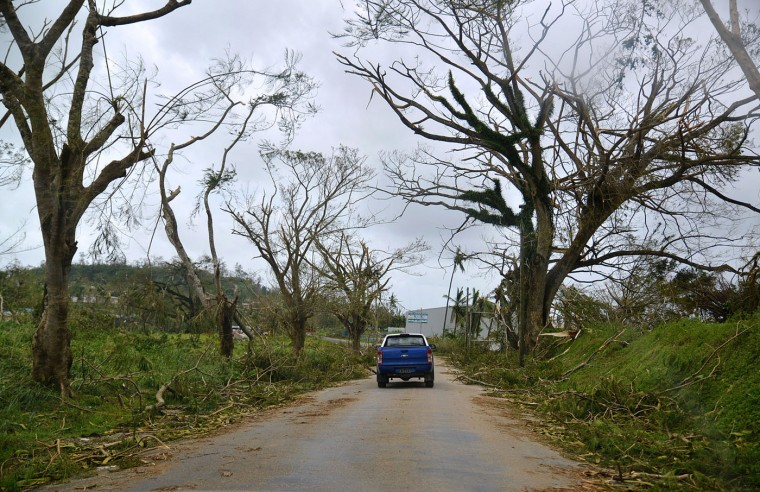 """This handout photo taken and received on March 15, 2015 by CARE Australia shows the vegetation blown off the trees, caused by Cyclone Pam, along the road leading in the Vanuatu capital of Port Vila. Cyclone-devastated Vanuatu declared a state of emergency on March 15 as relief agencies scrambled to get help to the remote Pacific nation amid reports entire villages were """"blown away"""" when the monster storm swept through. (Tom Perry/Care/AFP/Getty Images)"""