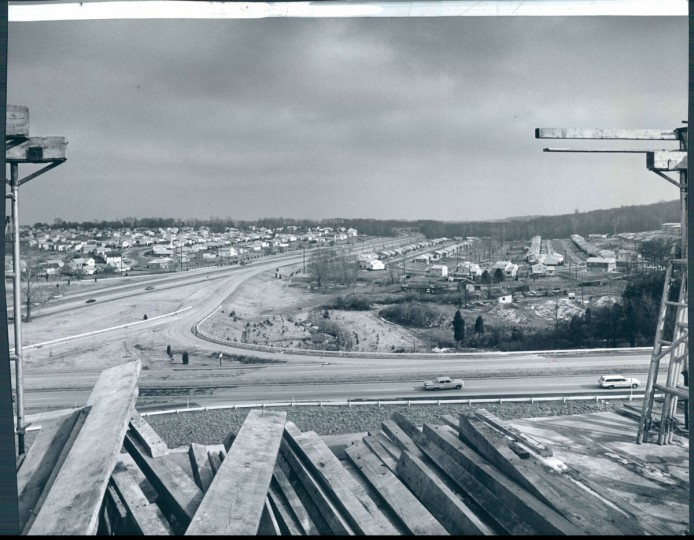 View looking east along the Beltway from the top of the Ruxton Tower Apartment complex. (Richard Stacks/Baltimore Sun, 1964)
