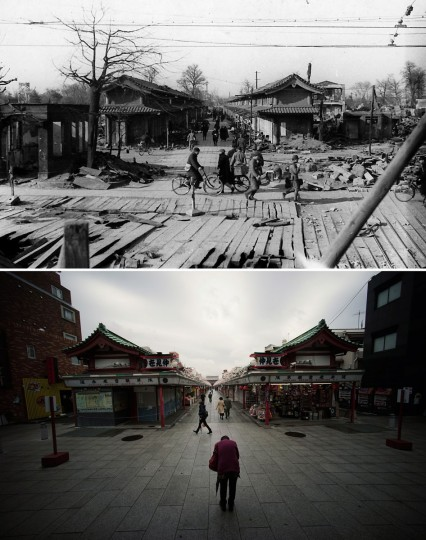 This combination of two photos shows initial destruction and reconstruction after the March 10, 1945 firebombing. The top photo taken on March 19, 1945 shows survivors commute through destroyed Nakamise shopping street after Tokyo firebombing. The bottom photo taken 70 years later on March 7, 2015, shows a visitor prays toward Sensoji Temple at the start of the Nakamise shopping street in Asakusa district in Tokyo. (AP Photo/The Center of the Tokyo Raids and War Damage, Eugene Hoshiko)