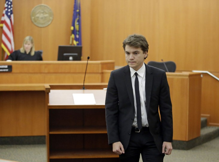 Actor Emile Hirsch appears in court Monday, March 16, 2015, in Park City, Utah. Hirsch made his first court appearance after being charged with assault after putting a studio executive in a chokehold and dragging her across a nightclub table while he was in Utah for the Sundance Film Festival. (AP Photo/Rick Bowmer, Pool)