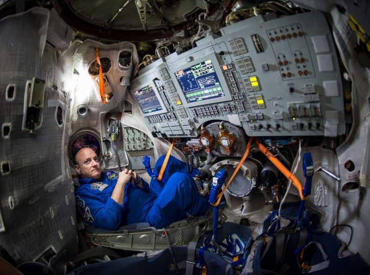 In this photo provided by NASA, astronaut Scott Kelly sits inside a Soyuz simulator at the Gagarin Cosmonaut Training Center (GCTC), Wednesday, March 4, 2015 in Star City, Russia. On Saturday, March 28, 2015, Kelly and cosmonaut Mikhail Kornienko will travel to the International Space Station to begin a year-long mission living in orbit. (AP Photo/NASA, Bill Ingalls)