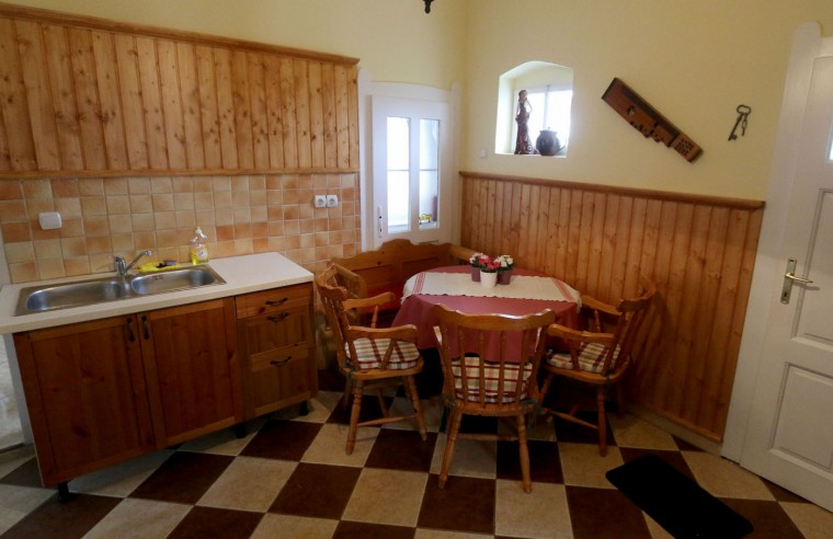Interior view of a house from the village of Megyer, Hungary, photographed Friday, March 13, 2015. For 210,000 forints (US Dollar 730) a day, visitors get access to seven guest houses that sleep 39 people, a bus stop, horses, chickens and four hectares (10 acres) of farm land. (AP Photo/Ronald Zak)