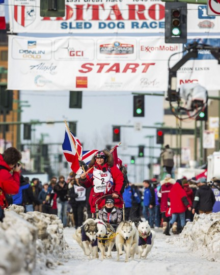 Canadian musher Rob Cooke is the first off the line during the ceremonial start of the Iditarod Trail Sled Dog Race, Saturday, March 7, 2015, in Anchorage, Alaska. The start of competition was moved to Fairbanks because of a lack of snow in the Anchorage area. (AP Photo/Alaska Dispatch News, Loren Holmes)