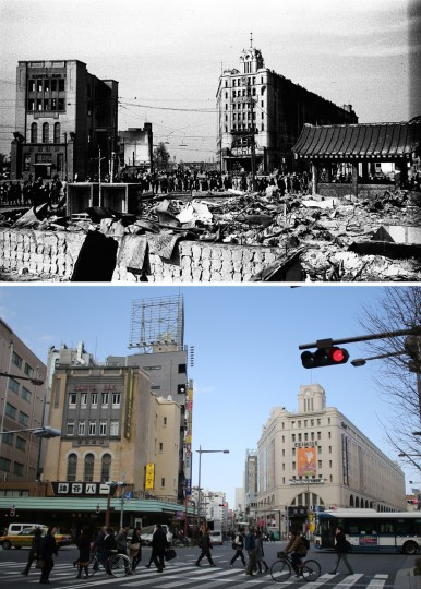 This combo of two photos shows initial destruction and reconstruction after the March 10, 1945 firebombing. The top photo taken on March 19, 1945 shows survivors commute near an incendiary bombed Kamiya Bar, left, and Matsuya Asakusa department store, right after Tokyo firebombing. The bottom photo taken 70 years later on March 7, 2015, shows commuters walk past still-in-use Kamiya Bar and Matsuya department store in Asakusa district in Tokyo. (AP Photo/The Center of the Tokyo Raids and War Damage, Eugene Hoshiko)