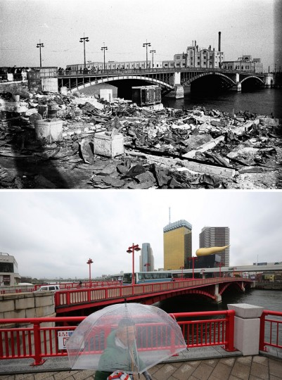 This combo of two photos shows initial destruction and reconstruction after the March 10, 1945 firebombing. The top photo taken on March 19, 1945 shows an incendiary bomb-devastated Azuma Bridge after Tokyo firebombing. The bottom photo taken 70 years later on March 7, 2015, shows a man walks near Azuma Bridge in Tokyo. (AP Photo/The Center of the Tokyo Raids and War Damage, Eugene Hoshiko)