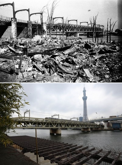 "This combo of two photos shows initial destruction and reconstruction after the March 10,1945 firebombing. The top photo taken on March 19, 1945 shows an incendiary bomb-devastated area and Sumida-gawa Bridge after Tokyo firebombing. The bottom photo taken 70 years later on March 7, 2015, shows trains run over Sumida-gawa Bridge with Japan's tallest building ""Tokyo Skytree"" in Tokyo. (AP Photo/The Center of the Tokyo Raids and War Damage, Eugene Hoshiko)"