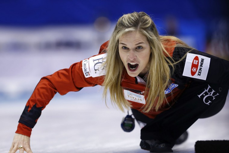 Canada's Jennifer Jones yells as the team plays Switzerland during the second end of the final match in the women's World Curling Championships in Sapporo, northern Japan, Sunday, March 22, 2015. (AP Photo/Shizuo Kambayashi)