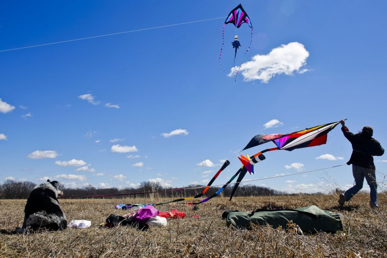 Stacey Steurer launches a kite as her dog Lacey looks on during a windy day at the Asylum Lake Preserve in Kalamazoo, Mich., Monday, March 30, 2015. (AP Photo/Kalamazoo Gazette, Christian Randolph)