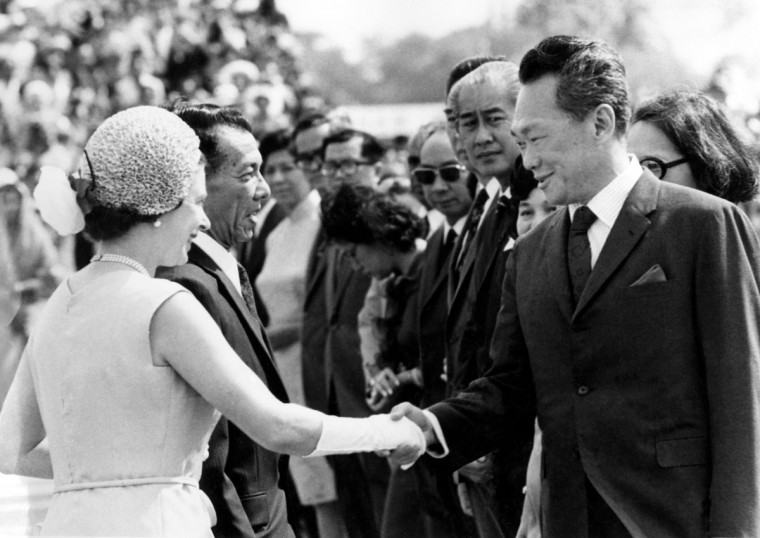 In this Feb. 18, 1972, file photo, Singapore's then Prime Minister Lee Kuan Yew, right, shakes hands with Britain's Queen Elizabeth II, as she arrived in Singapore during her tour of the Far East. Lee brought prosperity to Singapore with an authoritarian system designed to outlast him, but that legacy may be ill-suited for the 21st-century challenges facing the tropical city-state. One of the last of a generation of Southeast Asian strongmen, Lee died Monday, March 23, 2015, at age 91. (AP Photo/ Max Nash, File)