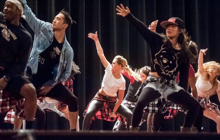 Fusion Dance Crew, based at North Carolina State University, performs during the sixth annual Coalescence Hip-Hop Dance Showcase at James Madison University in Harrisonburg, Va., Saturday, Feb. 7, 2015. (AP Photo/Daily News-Record, Daniel Lin)