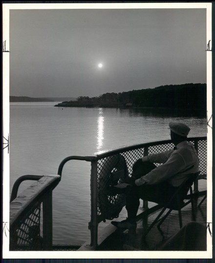 August 26, 1956 - The sun is low as the boat passes the tip of the Fort Belvoir. Washington sailings are made every other evening. (A. Aubrey Bodine/Baltimore Sun)