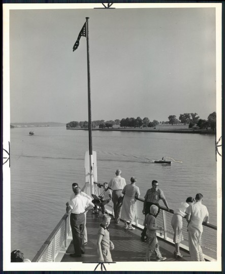 August 26, 1956 - Little pleasure craft pass the big steamboat off Washington's airport. (A. Aubrey Bodine/Baltimore Sun)