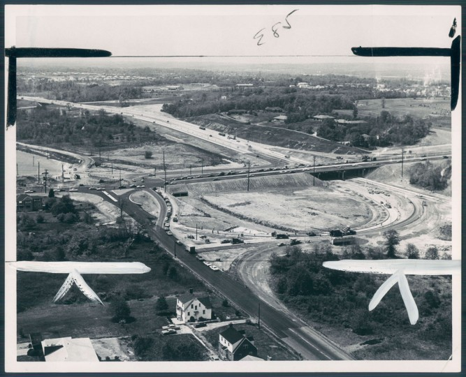 In Anne Arundel county, underpass, right, is being built under Ritchie highway for Beltway interchange. The view is looking toward the west. (George H. Cook/Baltimore Sun, 1968)