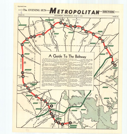A guide to the beltway published on July 4, 1962. (Baltimore Sun archives)