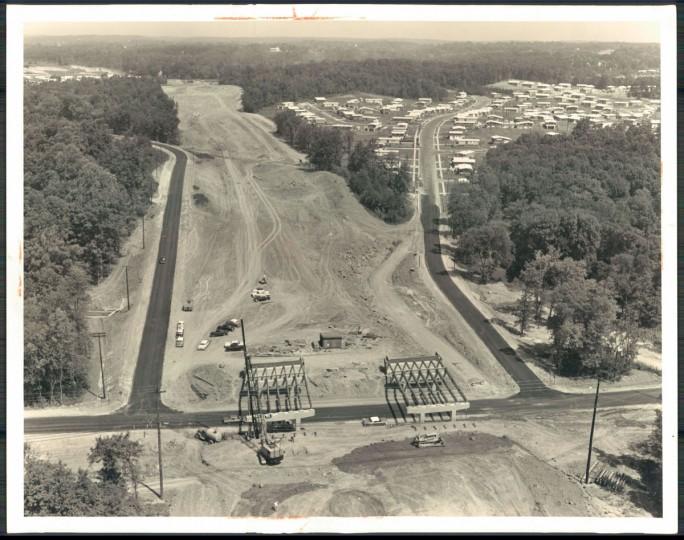 Beltway bridges crossing Milford Mill Rd. under construction. (William L. Klender/Baltimore Sun, 1961)
