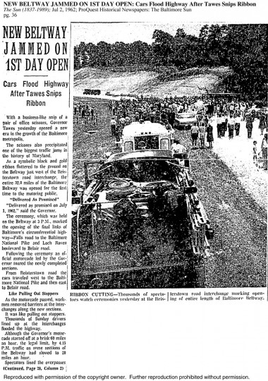 An article about the congestion experienced on the beltway on the first day. (Baltimore Sun archives)
