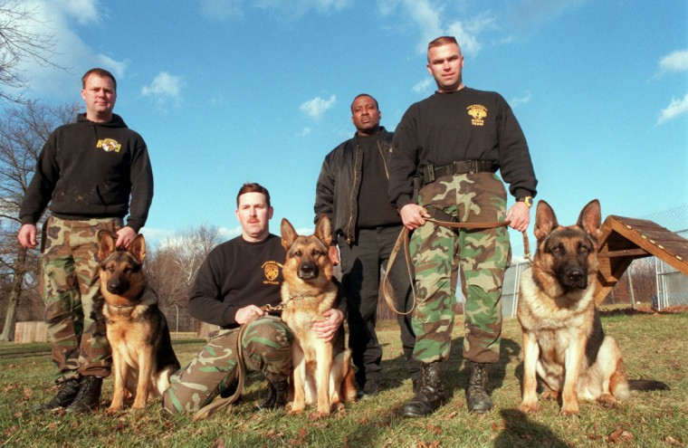 From left troopers with their dogs are TFC John Carhart with Ajax, TFC Barry Stonestreet kneeling with Bocho and TFC Scott Angstadt with his German Shepherd Celo. (Jed Kirschbaum/Baltimore Sun, 1997)