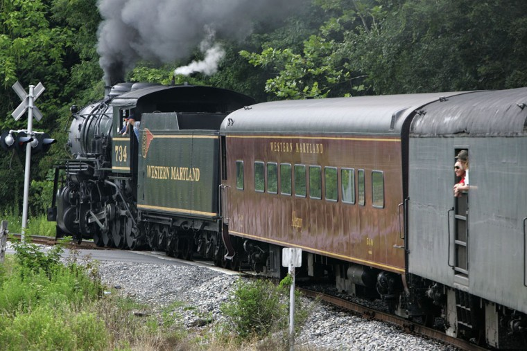 You may not be able to travel cross-country, or even cross-state on the Western Maryland Scenic Railroad, but steam train buffs like to go all aboard for a scenic 32-mile, round-trip between Cumberland and Frostburg on the old Western Maryland Railway line. Travelers may also opt for the chance to solve a murder mystery while aboard.