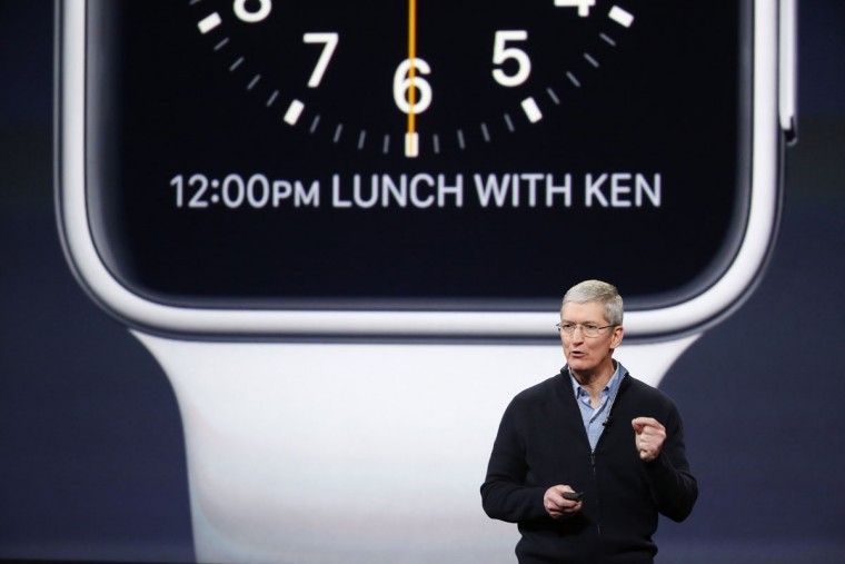Apple CEO Tim Cook announces the Apple Watch during an Apple special event at the Yerba Buena Center for the Arts on March 9, 2015 in San Francisco, California. (Photo by Stephen Lam/Getty Images)