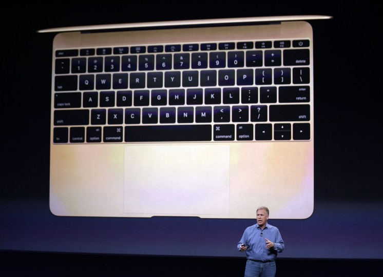 Phil Schiller, Apple's Senior Vice President of Worldwide Product Marketing, talks about the new Apple MacBook during an Apple event on Monday, March 9, 2015, in San Francisco. (AP Photo/Eric Risberg)
