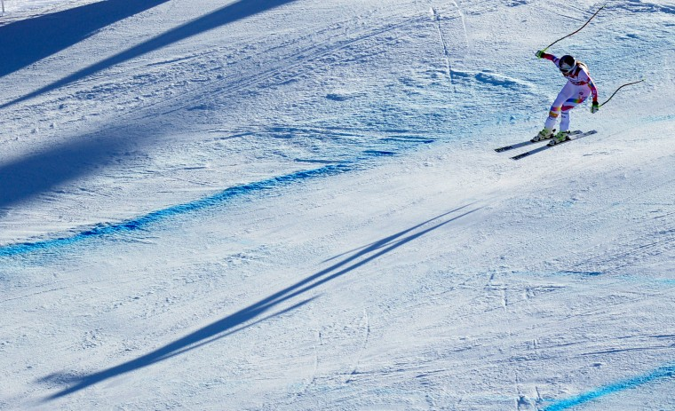 Lindsey Vonn of the United States jumps in the women's downhill competition of the FIS alpine ski world cup in Garmisch-Partenkirchen, southern Germany. Lichtenstein's Tina Weirather won the competition, Austrian Anna Fenninger placed second and Slovenian Tina Maze placed third. Lindsey Vonn placed seventh. (Christof Stache/AFP-Getty Images)