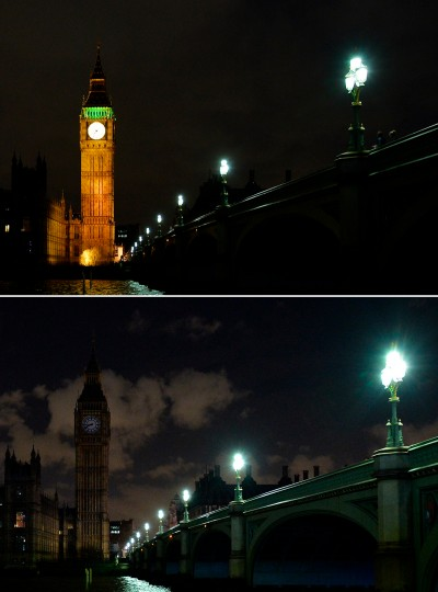 In this two photo combination picture in central London, the Houses of Parliament being submerged into darkness for the Earth Hour environmental campaign. Millions are expected to take part around the world in the annual event organized by conservation group WWF, with hundreds of well-known sights set to plunge into darkness. (Glyn Kirk/AFP-Getty Images)