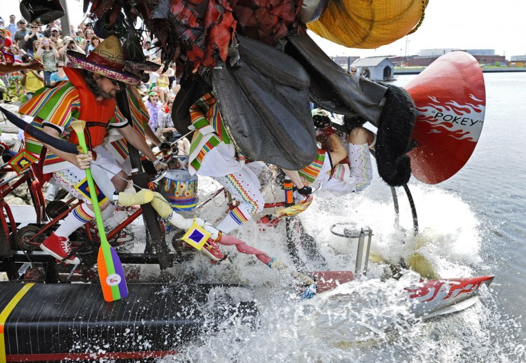 Did we mention these road warriors are meant to run on both land and sea? That's the goal, anyway, at the American Visionary Art Museum's annual Kinetic Sculpture Race. The event covers 14 miles over pavement, sand, mud and Chesapeake Bay. The 17th annual race takes place May 2, 2015, with an Out of This World Theme. (Kenneth K. Lam/Baltimore Sun)