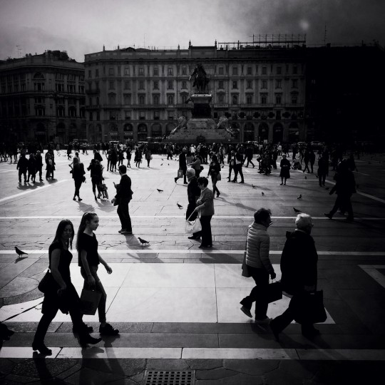 People walk in Piazza Duomo on March 30, 2015 in Milan, Italy. Milan was named as the 2015 Universal Exposition hosting city. It will run from May 1 until October 31, 2015. (Photo by Vittorio Zunino Celotto/Getty Images)