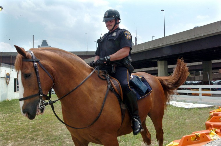 Of course, Baltimore is home to Pimlico Race Course and the Preakness Stakes -- the second leg of horse racing's Triple Crown -- but it has also been home to the Baltimore City Police Mounted Unit in which officers use a stable of horses for specific traffic events. (Elizabeth Malby/Baltimore Sun)