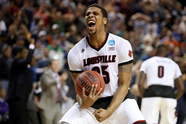 Wayne Blackshear #25 of the Louisville Cardinals celebrates after defeating the UC Irvine Anteaters during the second round of the 2015 NCAA Men's Basketball Tournament at KeyArena on March 20, 2015 in Seattle, Washington. (Photo by Otto Greule Jr/Getty Images)