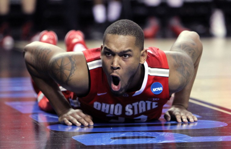 Ohio State center Amir Williams reacts during the second half of an NCAA tournament second round college basketball game against Virginia Commonwealth, Thursday, March 19, 2015, in Portland, Ore. (AP Photo/Craig Mitchelldyer)