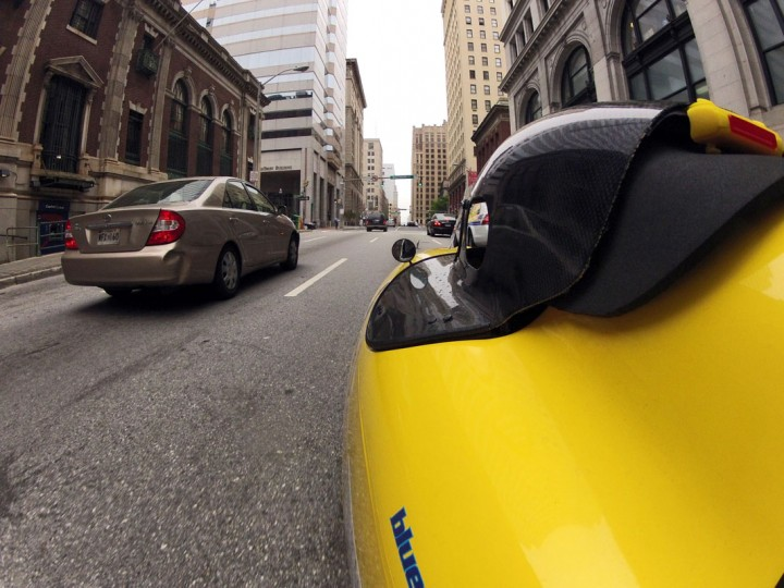 It's just like riding a bike...lying down and without being exposed to the elements. It's part tricycle, fully pedal-powered and very aerodynamic, which means you'll get to where you're going fairly quickly and you'll be making an entrance when you get there. This particular yellow submarine-like contraption belongs to Pasadena resident Greg Cantori, the president and CEO of Maryland Nonprofits, who has been biking to work for decades. (Christopher T. Assaf/Baltimore Sun)