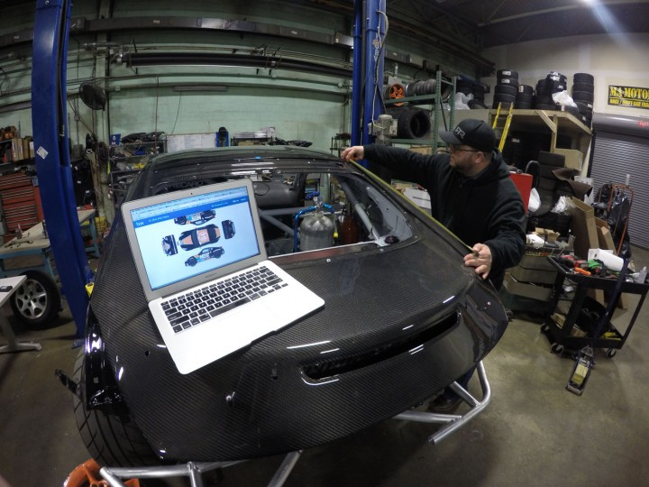 As the panels get fitted to the car, we need to take measurements for vinyl. John Bruning from Speedesign (another local Baltimore business) will add the final touches and sponsor logos that will make an otherwise plain-looking car into a proper race car.