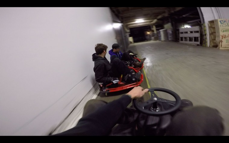 Playtime! Brian, Dylan, and I like to spend the end of each day with a Crazy Cart drift session in the warehouse. They are tiny electric carts (that we barely fit on) but are insanely fun with your friends. Small rewards for a hard day's work!