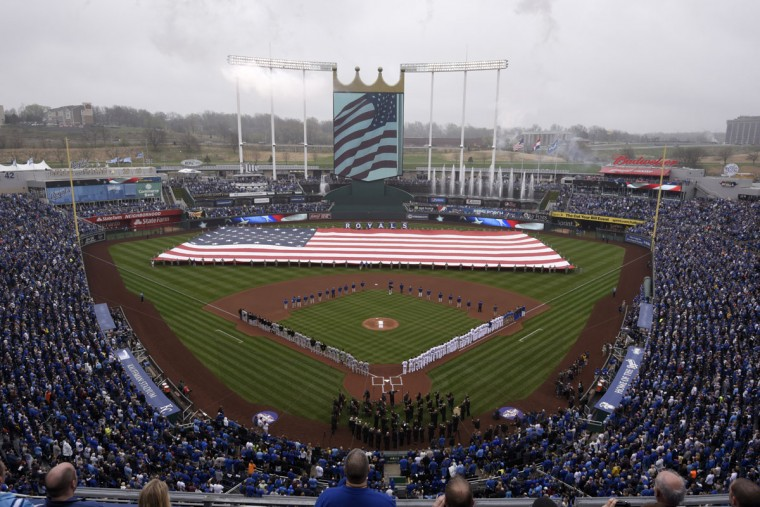A general view of Kauffman Stadium during the playing of the National Anthem prior to the Kansas City Royals' home opener against the Chicago White Sox on April 6, 2015 in Kansas City, Missouri. (Photo by Ed Zurga/Getty Images)