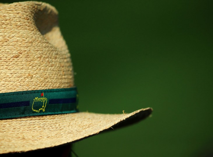 A detailed shot of a patron's hat during the first round of the 2015 Masters Tournament at Augusta National Golf Club on April 9, 2015 in Augusta, Georgia. (Photo by Andrew Redington/Getty Images)