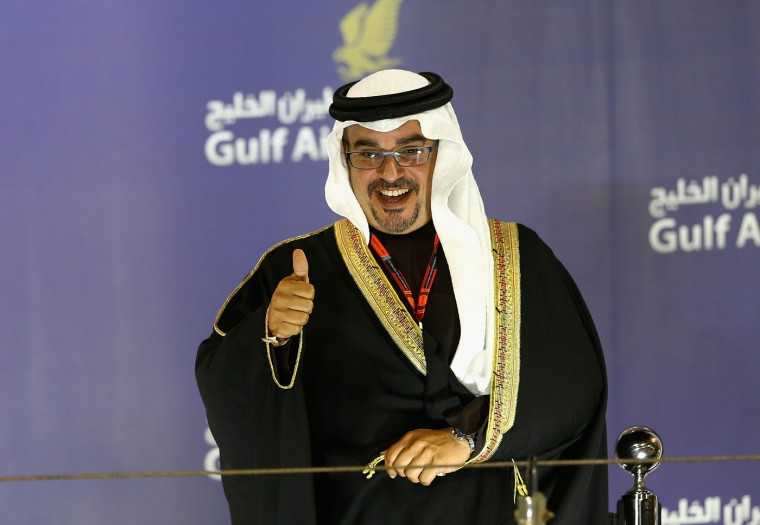 Prince Salman bin Hamad bin Isa Al Khalifa, Crown Prince of Bahrain celebrates on the podium during the Bahrain Formula One Grand Prix at Bahrain International Circuit on April 19, 2015 in Bahrain, Bahrain. (Clive Mason/Getty Images)